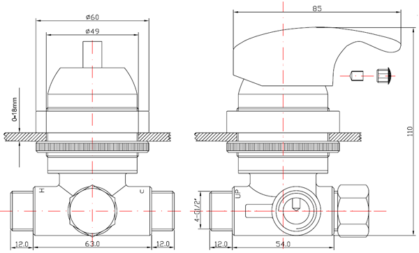 AMD004 Pedicure spa mixing valve drawing