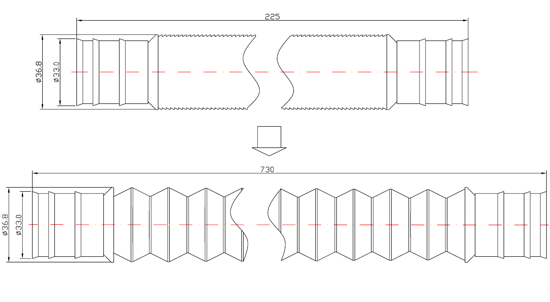 PTH001 P-trap extension hose drawing